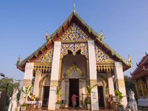 Church of Thai art temple in Nan under blue sky Royalty Free Stock Images