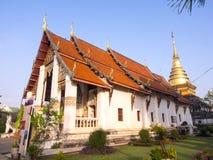 Church of Thai art temple in Nan under blue sky Stock Photo