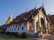 Church of Thai art temple in Nan under blue sky Stock Photos