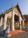 Church of Thai art temple in Nan under blue sky Stock Photography