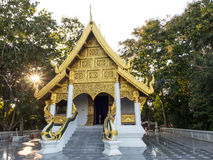 Church of Thai temple with sun ray Royalty Free Stock Photography