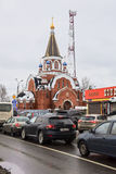 Church of the Theotokos of Pochayiv in a dull winter day. Saltykovka, Moscow region. Stock Images