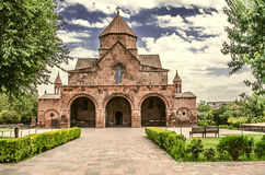 Church with a three-nave domed Basilica of St. Gayane in Echmiadzin. Facade of the Church with a three-nave domed Basilica of St. Gayane in Echmiadzin Royalty Free Stock Photography