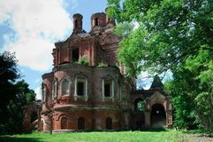Church of the Tikhvin Mother of God in the territory of the Count Sheremetyev`s estate in the village of Vysokoye Smolensk region. Vysokoye, Russia - July 02 royalty free stock photo