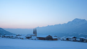 Church in Tirol with Alps Stock Image