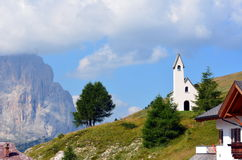Church to Gardena pass dolomiti Stock Photography