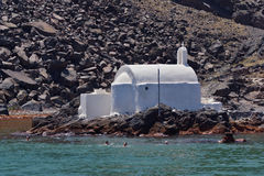 Church to hot volcanic springs,  Santorini, Thira Island,  Cyclades Islands Stock Photo