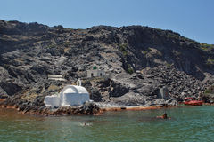 Church to hot volcanic springs,  Santorini, Thira Island,  Cyclades Islands Royalty Free Stock Photo