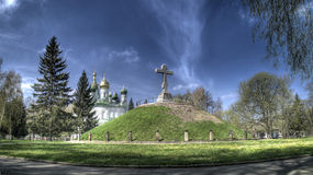 Church and a tomb of soldiers. The church and tomb of Russian soldiers is on a place of battle of Swedes and Russian Stock Photo