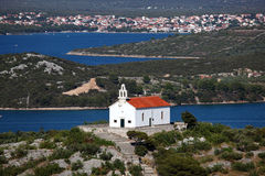 Church on top of a hill. In Croatian town Murter Royalty Free Stock Images