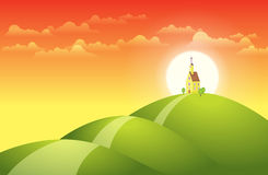 Church on Top of the Hill. Vector illustration of a church on top of the hill with the sunset at the background Stock Image