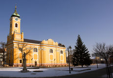Church in Topolcany. Main square Royalty Free Stock Photo
