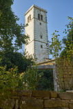 Church tover in Oprtalj. Oprtalj-Portole, situated on the hill is one of the most picturesque towns of the northern Istria Stock Photography