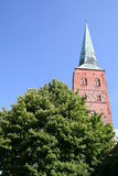 Church tower. One tower of the cathedral of Lübeck Stock Photo