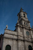 Church tower. One of fivehundred churches in the city of Braga, Portugal. Picture was take with a clear blue sky Royalty Free Stock Images
