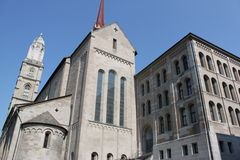 Church tower. In Zurich Switzerland with landscape in the city Stock Images