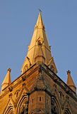 Church tower. Detail photo of cathedral in sydney, clear blue sky Stock Photo