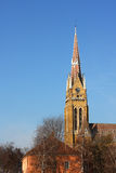 Church tower. Old church clock tower with blue sky Royalty Free Stock Photo
