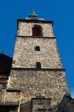 The church tower. Against the blue sky stock photos