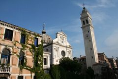 Church Tower. A church and church tower in Venice Royalty Free Stock Images