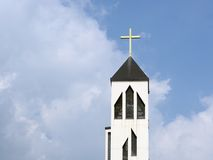 Church tower. Against a blue sky Royalty Free Stock Photography