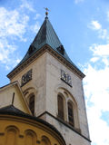 The church tower. Tower of the church in Zasmuky, Czech Republic stock image