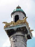 Church tower. With golden eagles royalty free stock photography