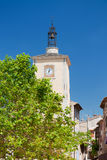 Church tower in Aiguines Royalty Free Stock Images