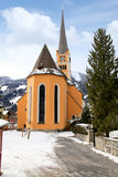 Church tower in Alpine village Bad Hofgastein , Austria. Stock Photo