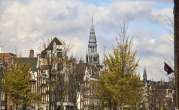 Church tower in Amsterdam, Holland Stock Images