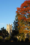 Church tower in autumn evening light Royalty Free Stock Photos