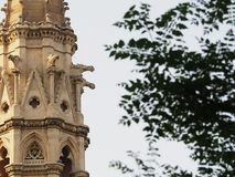 Church tower. Beautiful church tower details on the street Stock Photo