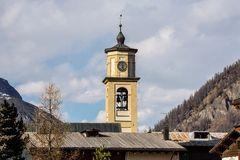 Church tower with bells and clock, Italy Stock Image