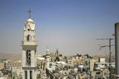 Church tower bethlehem. West bank, palestine, israel Stock Image