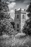 Church tower in black and white Stock Photo