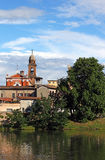 Church tower and buildings Rimini Royalty Free Stock Images