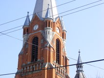 Church tower built with brick stock image