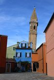 Church tower of BURANO near Venice in Italy Stock Image