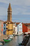Church tower of BURANO near Venice in Italy Royalty Free Stock Images