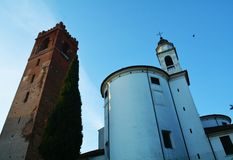 Church and tower in Castelfranco Veneto, Treviso. Beautiful church and tower in Castelfranco Veneto, in Treviso, Italy Stock Photos