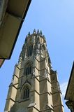 Church tower of cathedral Saint Nicholas in Fribourg Stock Images
