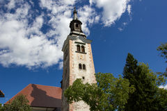 Church tower, church of the Assumption of Mary Stock Photos