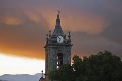 Church tower. With red sky Royalty Free Stock Photography