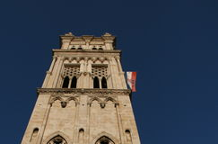 Church Tower And Croatian Flag Stock Photos