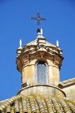 Church tower with cross, Campillos, Andalusia. Royalty Free Stock Photo