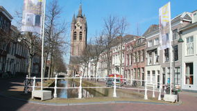 Church tower of Delft, Holland stock footage