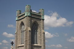 Church tower. A detail of a church tower in Lansing, Michigan royalty free stock images