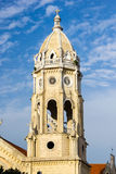 Church tower. Detail of the church tower under blue sky in Casco Viejo, Panama Royalty Free Stock Images