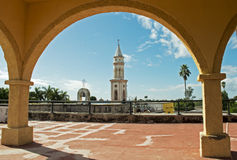 Church tower in EL Fuerte. Church tower framed by colonial arch in EL Fuerte, Sinaloa, Mexico Royalty Free Stock Photos