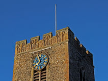 Church tower exterior detail with clock Stock Photography